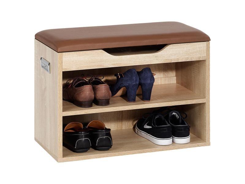 Meuble à Chaussures Zapato Banc Avec Assise Et 2 étagères Rangement