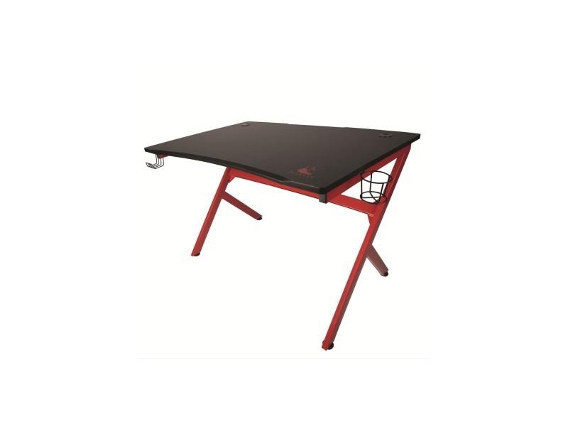 Table gaming bureau de gamer drakkar frigg - noir et rouge - acier et bois, passe cable, stand casque...