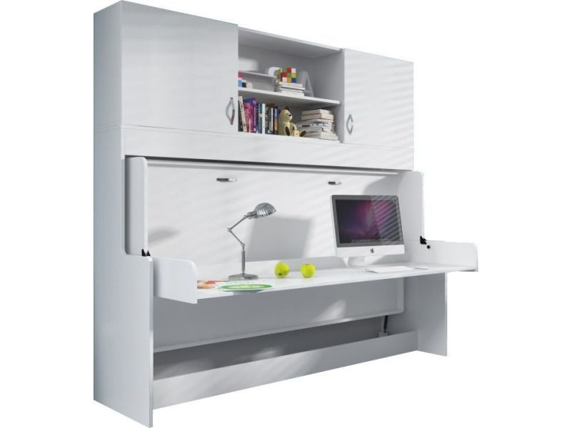 bureau amovible avec lit combin escamotable 90x200 et. Black Bedroom Furniture Sets. Home Design Ideas