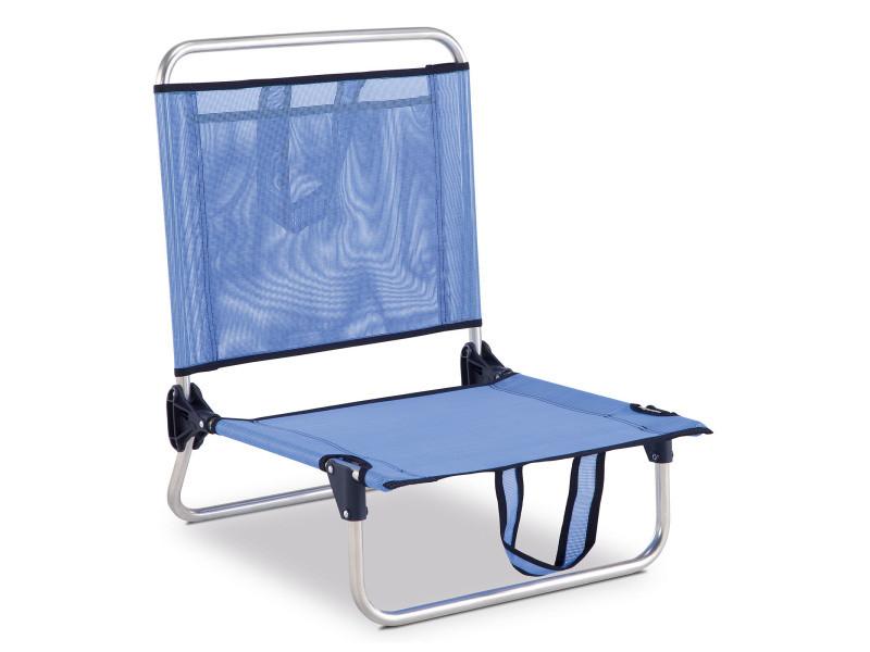 Chaise de plage pliante solenny dossier bas avec poche et accourdoirs