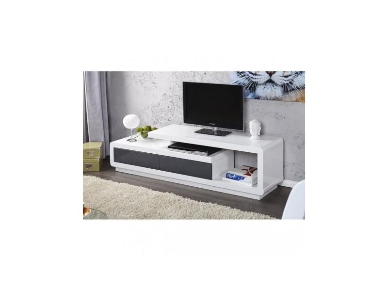 Meuble Tv De La Collection Marvin Coloris Blanc Gris Laque