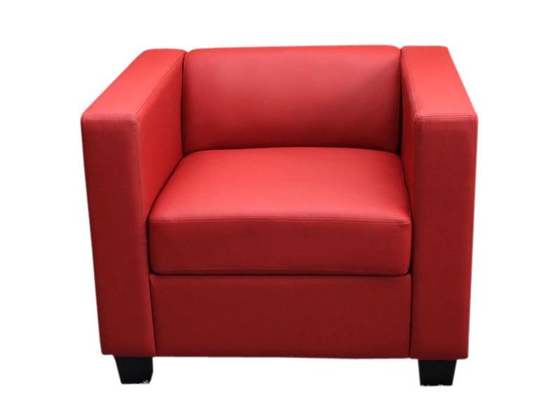 Fauteuil club / lounge lille, 86x75x70cm, simili-cuir, rouge