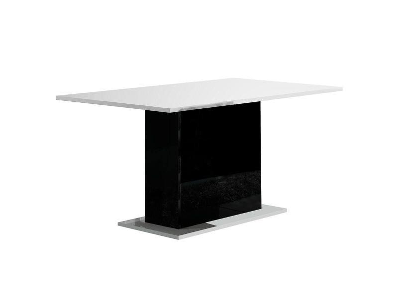 Columbus / alyssa - table rectangulaire laquée brillant blanc et noir