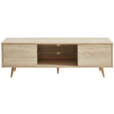 9650f6d1e211bb Meuble tv - meuble hi-fi eclat meuble tv a led scandinave décor bois avec  pieds en bois chene massif - l 140 cm - Vente de Meuble tv - Conforama