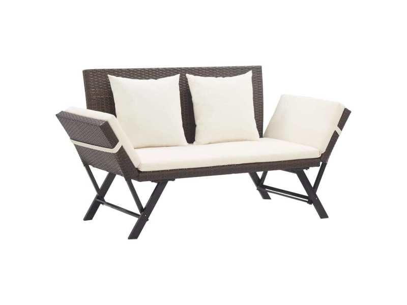 Joli sièges de jardin edition washington banc de jardin avec coussins 176 cm marron résine tressée