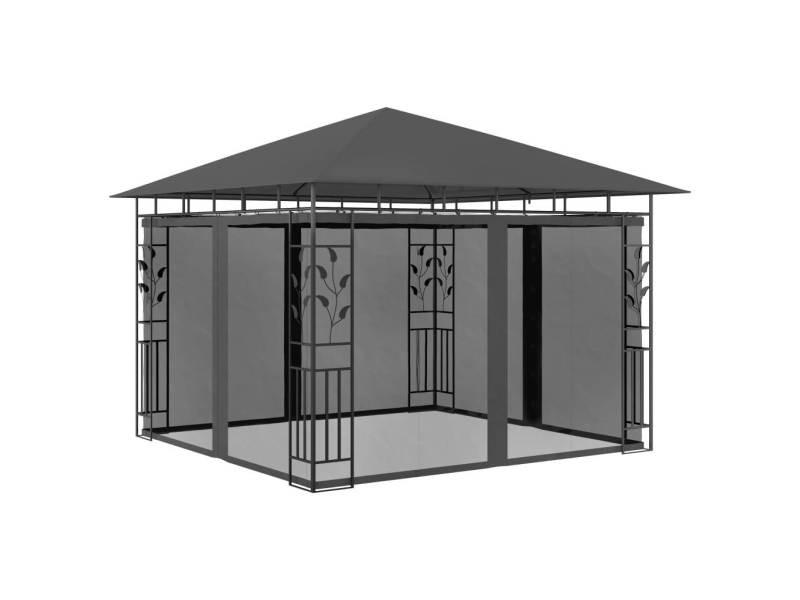 Chic structures extérieures edition prague belvédère avec moustiquaire 3x3x2,73 m anthracite 180 g/m²