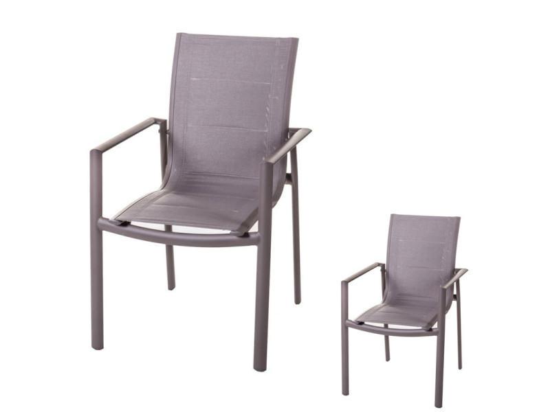 Duo de chaises à accoudoirs aluminium/textilène - flores - l 57 x l 64 x h 89 - neuf