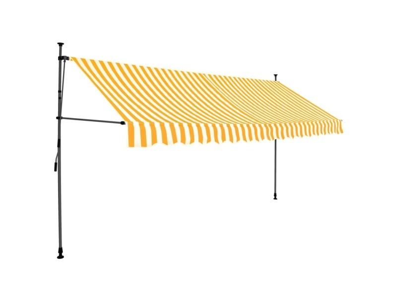 Vidaxl auvent manuel rétractable avec led 400 cm blanc et orange 145861
