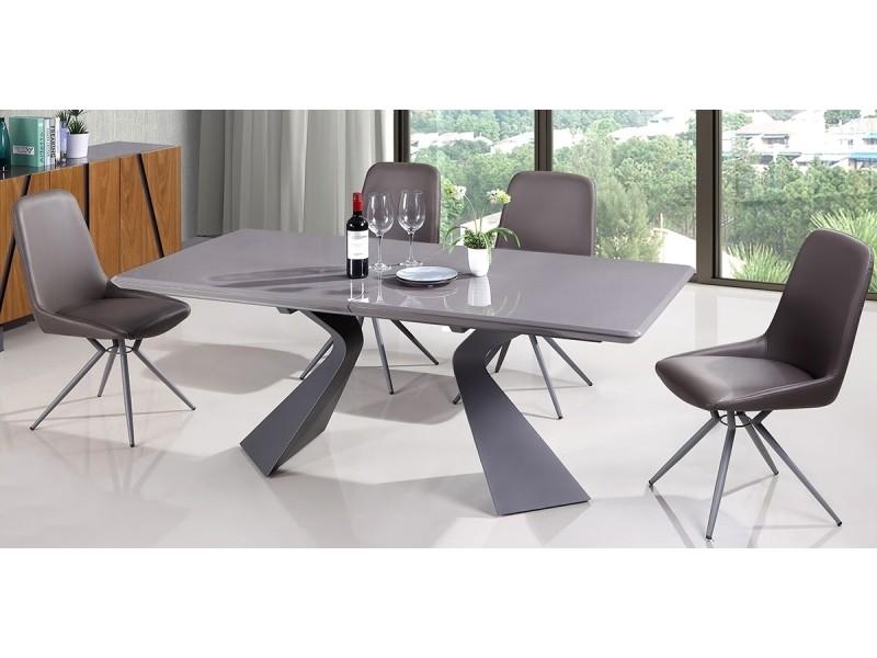 Table à manger extensible bois/laqué west - noyer/gris ...