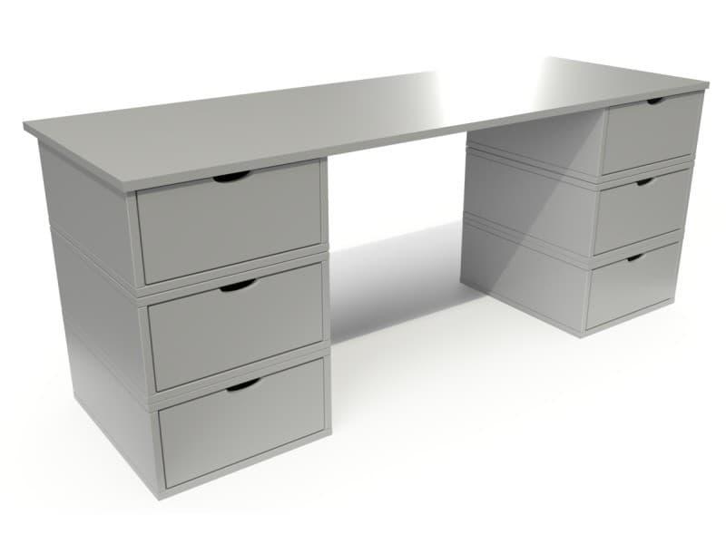 Bureau long en bois 6 tiroirs cube gris BUR6T-G
