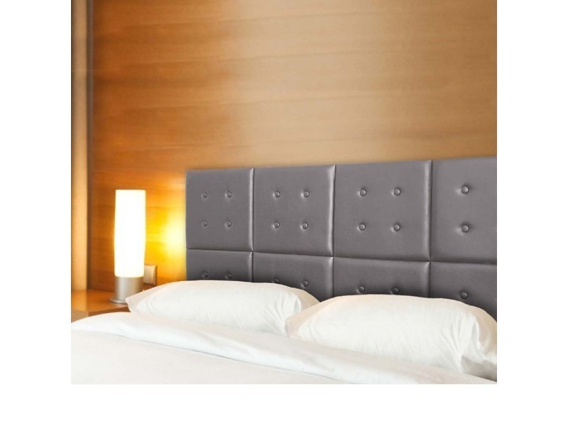 t te de lit capitonn e h tel modulable gris vente de ego design conforama. Black Bedroom Furniture Sets. Home Design Ideas