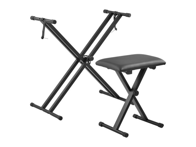 Support double pour clavier à sangles troués avec banquette stand solide et siège pliables pour piano numérique table de mixage hauteur et largeur réglables capacité de charge 25 kg fer noir [en.casa]