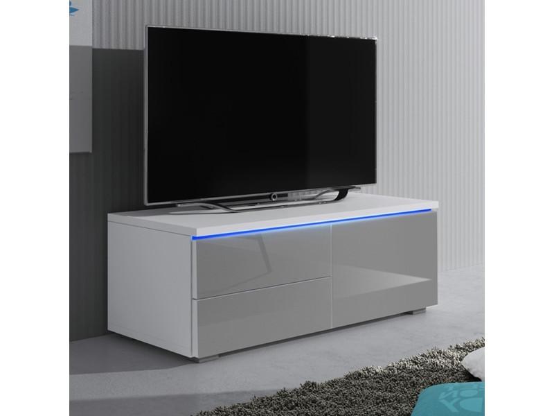 Meuble Tv 100 Cm Luv Single Tiroirs Cote Gauche Blanc