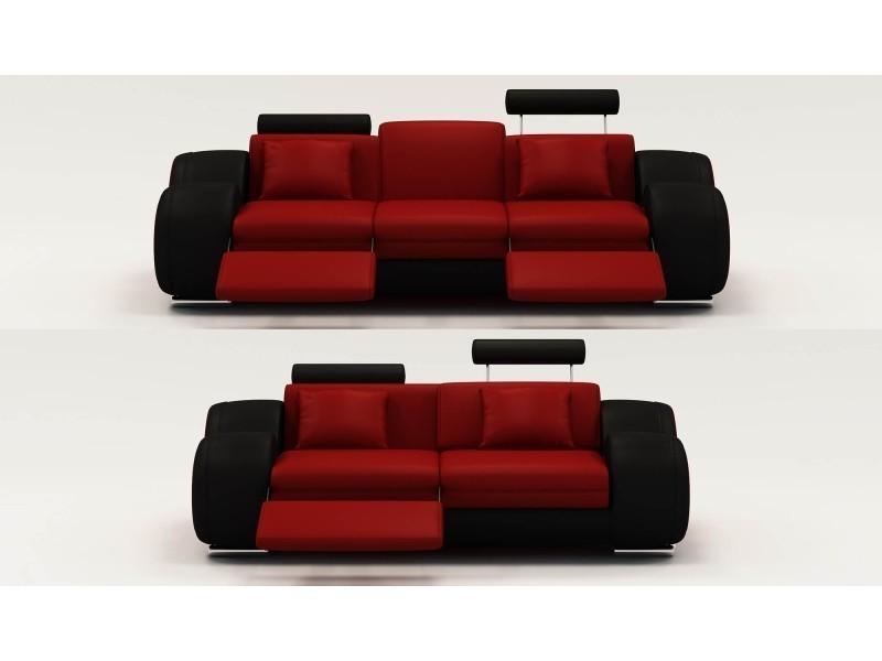Ensemble cuir relax oslo 3+2 places design rouge et noir-