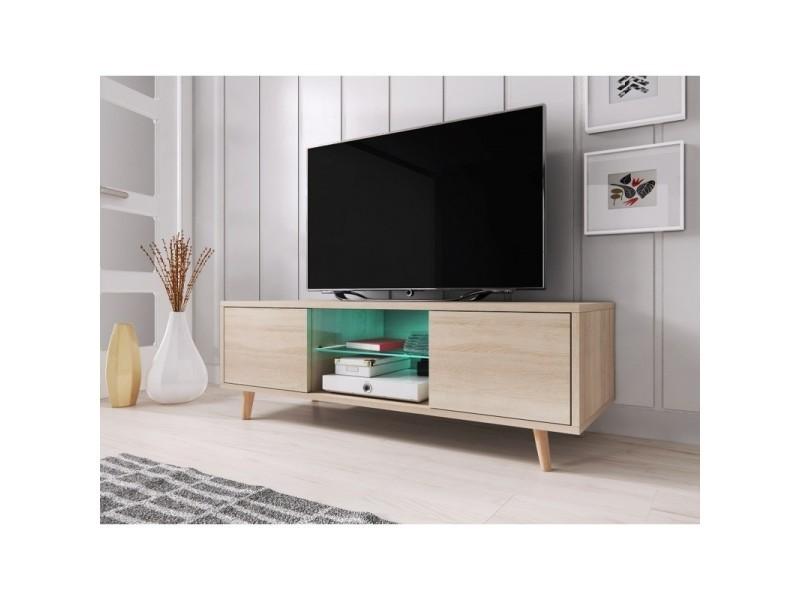 Meuble Tv Design Eden 140 Cm 2 Portes Et 2 Niches Coloris