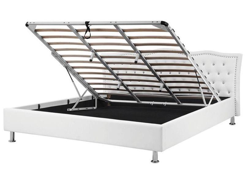 Lit design en cuir 180x200 cm blanc avec rangement metz 25958