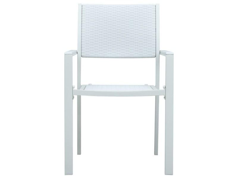 Vidaxl chaises de jardin 4 pcs blanc plastique aspect de rotin 47888