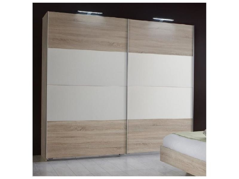Armoire eva portes coulissantes largeur 225 cm chêne clair / blanc 20100889721
