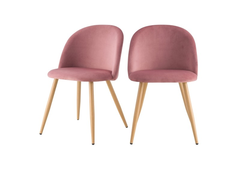 chaise cozy en velours rose lot de 2 conforama. Black Bedroom Furniture Sets. Home Design Ideas