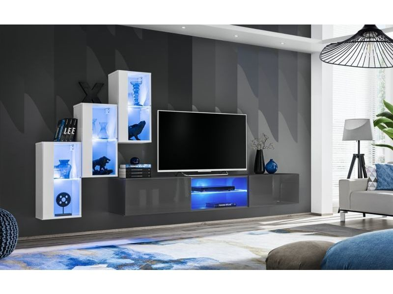 Ensemble meuble tv mural switch xxii - l 240 x p 40 x h 170 cm - blanc et gris