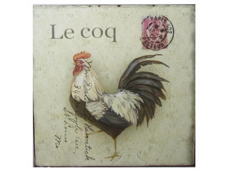 Plaque Publicitaire Décorative Coq Timbre Thème Carte