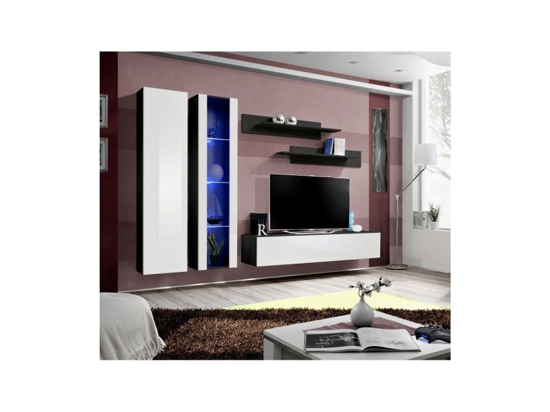 Ensemble meuble tv mural - fly iv - 260 cm x 190 cm x 40 cm - noir et blanc