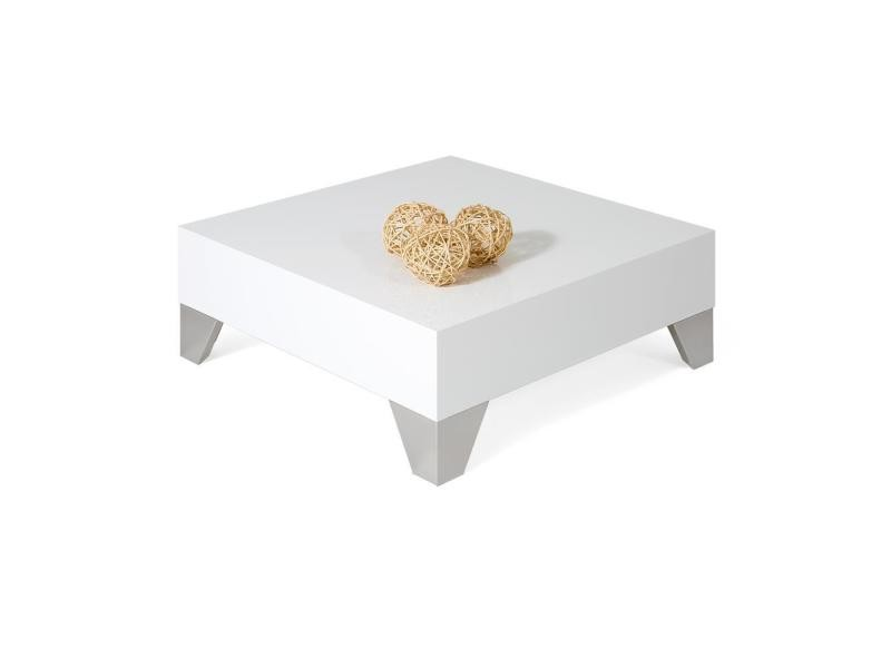 Mobili fiver, table basse carrée, evolution 60, blanc laqué brillant, made in italy
