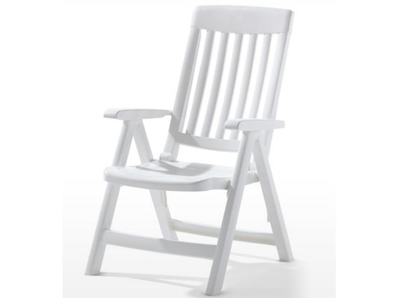 Fauteuil multi-positions de jardin en résine de synthèse, blanc - 67 x 62 x 105 cm -pegane-