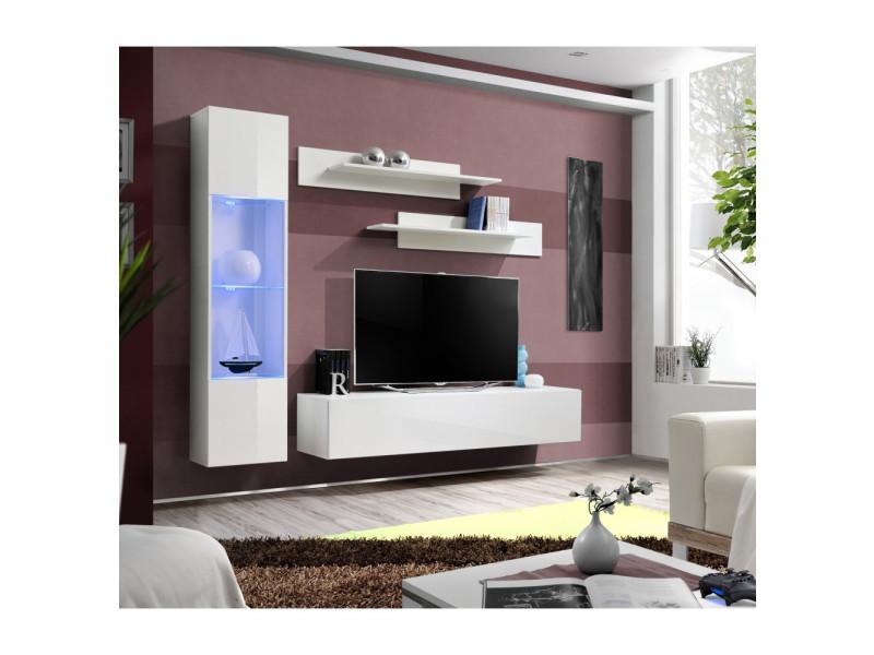 Ensemble meuble tv mural - fly iii - 210 cm x 190 cm x 40 cm - blanc