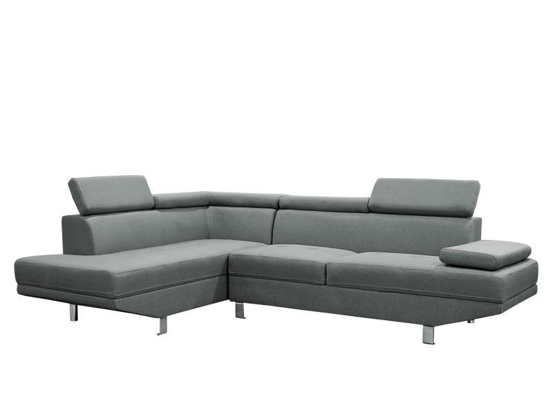 Canapé d'angle design gauche tissu gris tiago-