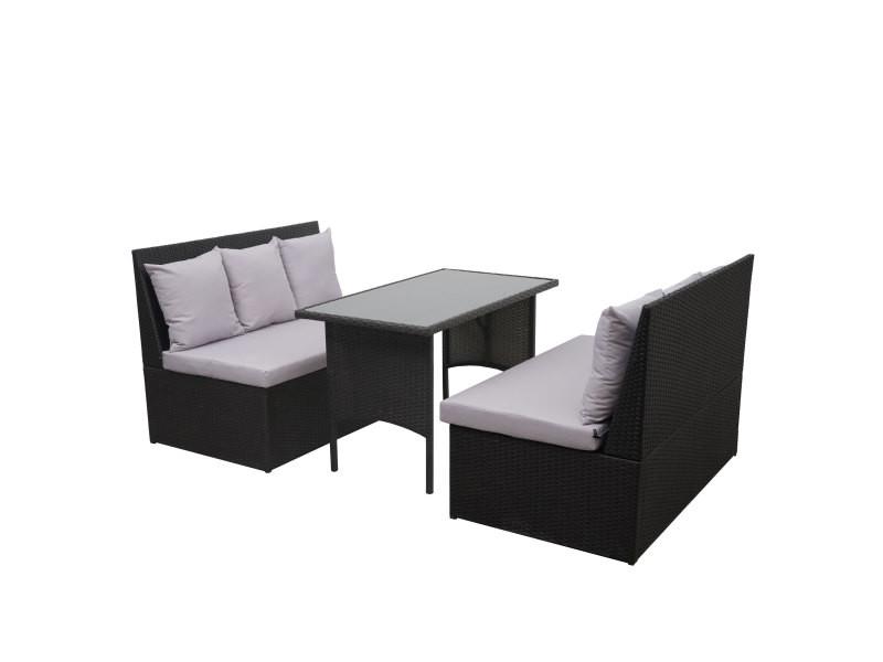 Garniture en polyrotin hwc-g16, jardin, gastronomie, 2x canapé 2 places, table ~ noir, coussin gris clair