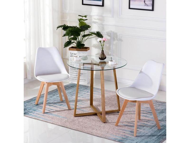 Table ¨¤ manger ronde transparente scandinave ¦µ80*75cm et 2 chaises blanches 46x 43 x 83 cm