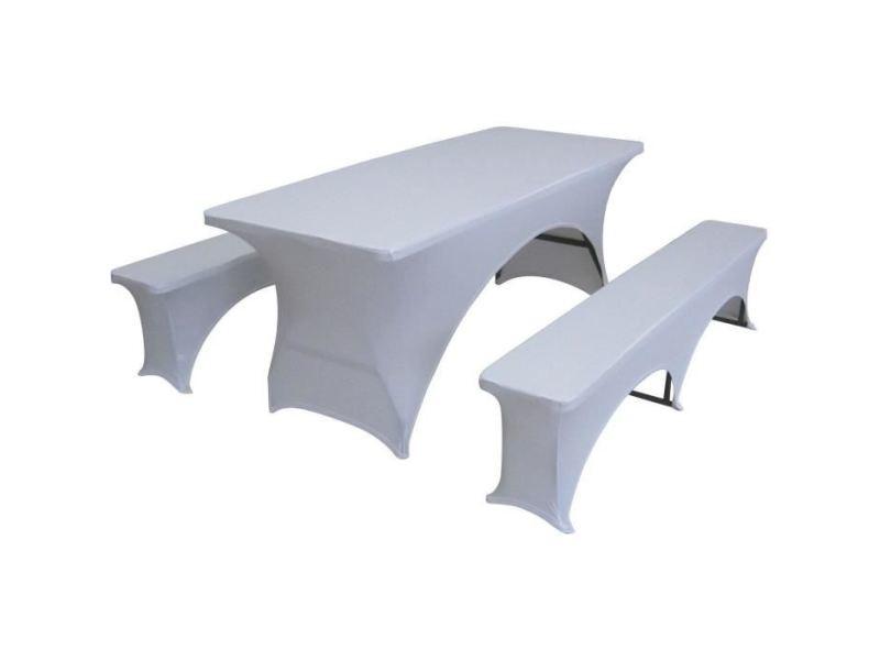 Housse pour meubles de jardin lot de 3 couvertures pour la table et bancs mis a 180 cm set - tissu : 10% spandex, 90% polyester, 190 gsm - blanc