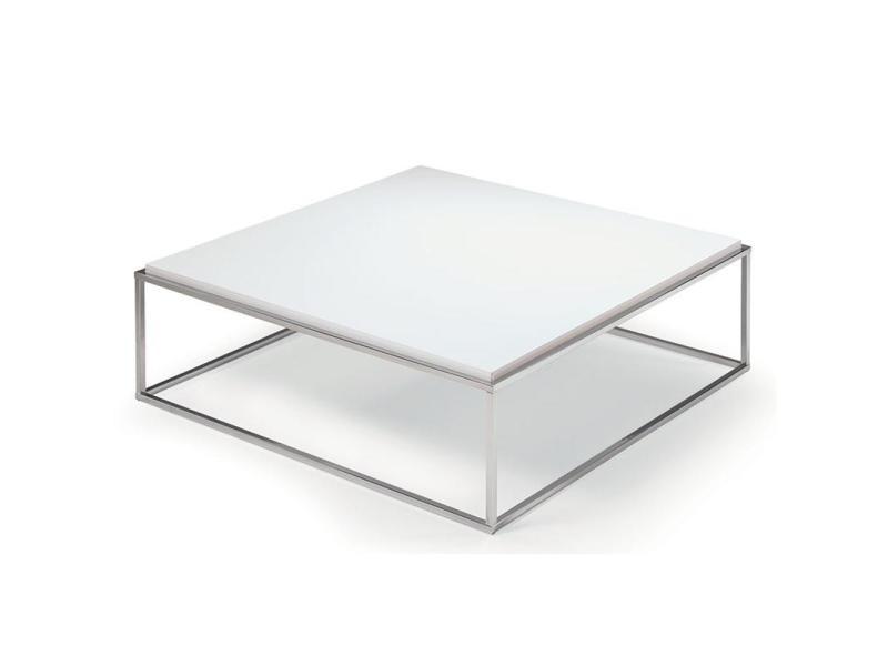Table basse carrée mimi xl blanc mat structure acier inoxydable poli 20100847254