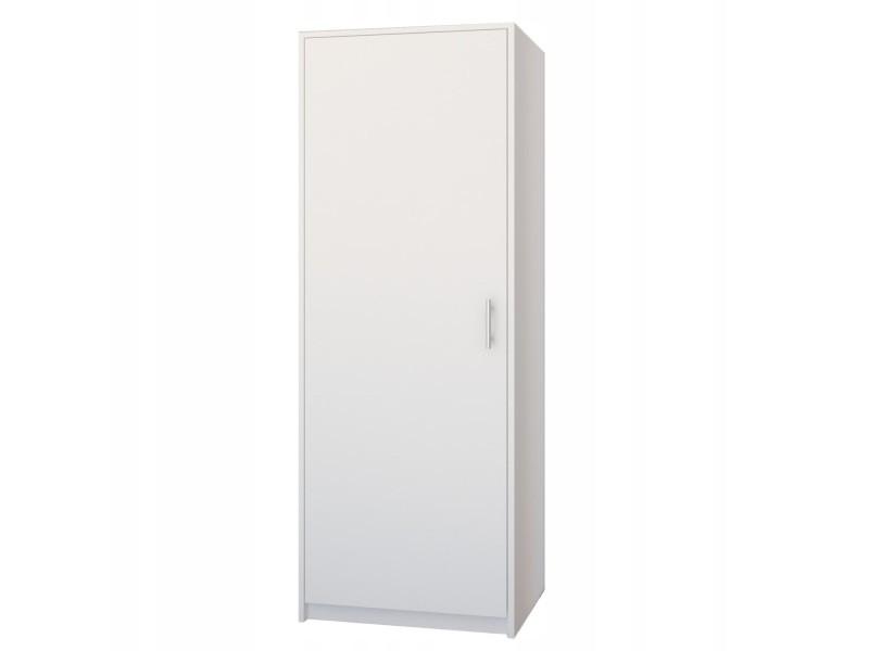 Essen - petite armoire contemporaine chambre/bureau/studio - 180x55x42 cm - penderie - meuble de rangement - blanc