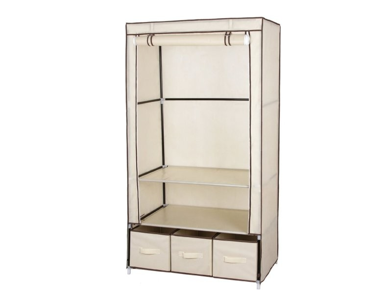armoires penderie tissu meuble de rangement beige 160 cm helloshop26 2012040 vente de penderie. Black Bedroom Furniture Sets. Home Design Ideas