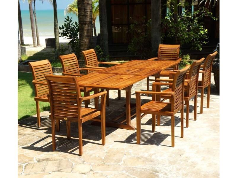 Salon jardin en teck huilé livré avec 8 fauteuils - Vente de Salon ...