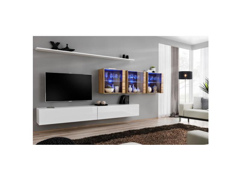 Ensemble mural - switch xvii - 3 vitrines led - 2 banc tv - 2 étagères - bois et blanc - modèle 2