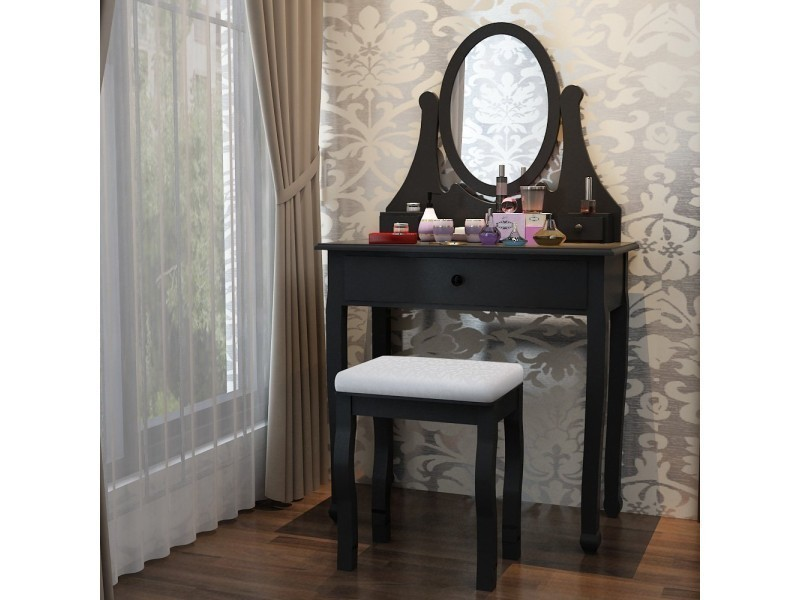 coiffeuse avec miroir et tabouret interesting coiffeuse. Black Bedroom Furniture Sets. Home Design Ideas