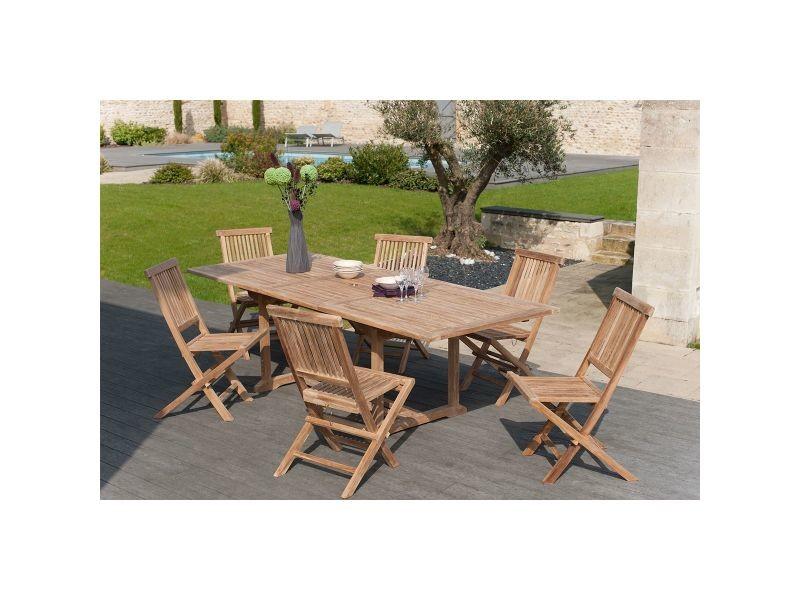Ensemble table de jardin et 6 chaises en teck borneo - Vente de ...