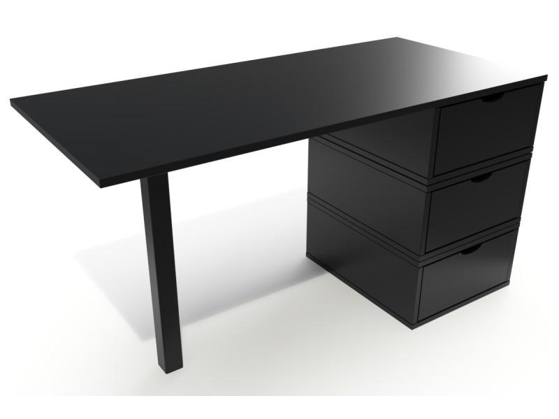 Bureau bois 3 tiroirs cube noir BUR3T-N