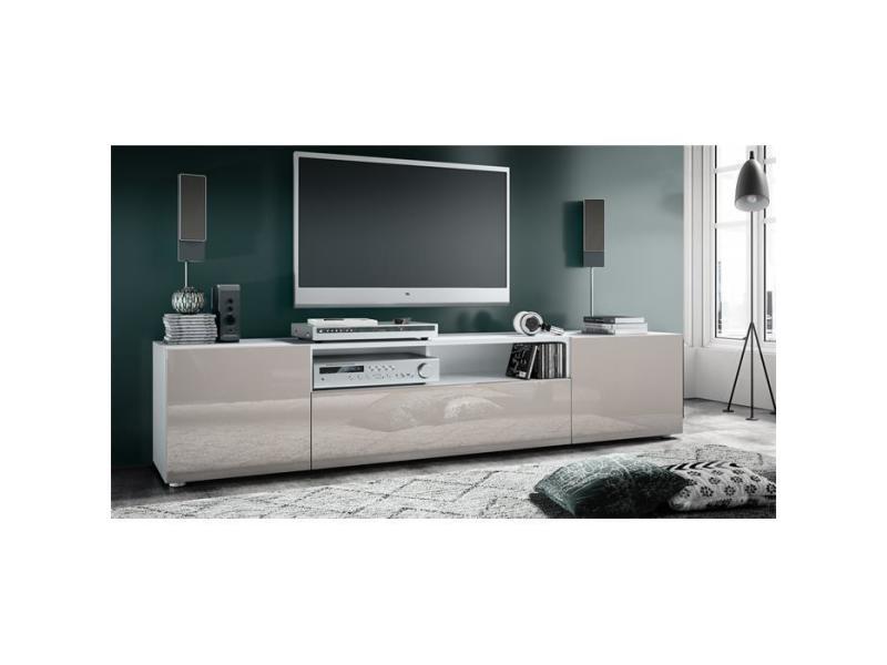 Meuble tv blanc mat / gris sable laqué