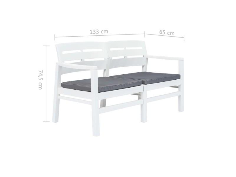 Vidaxl banc de jardin à 2 places et coussins 133 cm plastique blanc ...