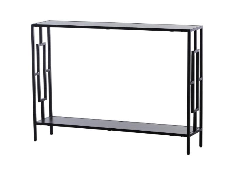Console table d'appoint design industriel dim. 106l x 23l x 76h cm étagère acier noir panneaux particules bois gris