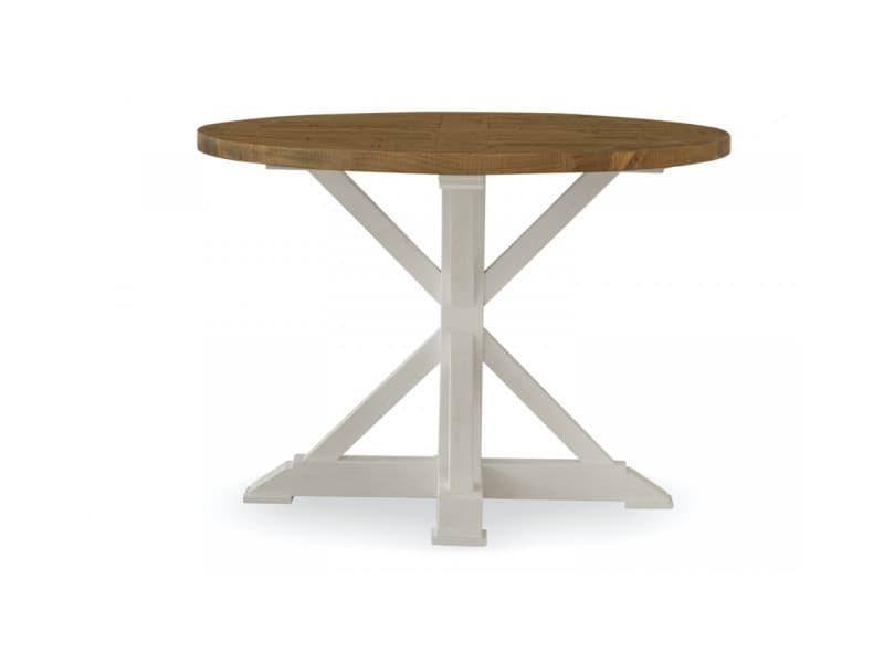 Table à manger ronde bois blanc césuré 110x110x78cm - décoration d'autrefois