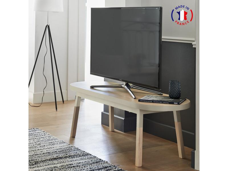 Meuble tv banc frêne massif 140x45 cm gris muscade - 100% fabrication française