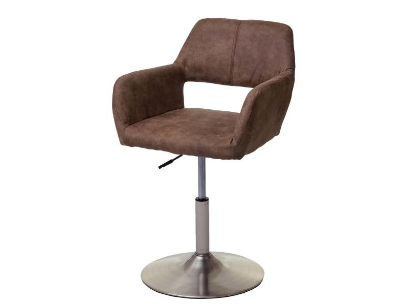 Chaise de salle à manger hwc-a50 iii, style rétro années 50, tissu ~ marron vintage, pied en métal brossé