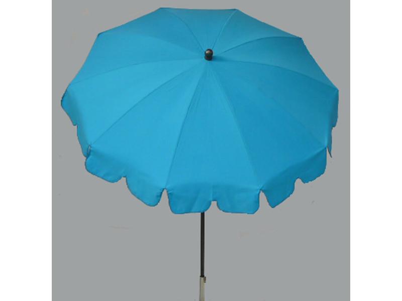 Parasol rond centré coloris turquoise - dim : h 230 x d 200/10 cm - pegane -