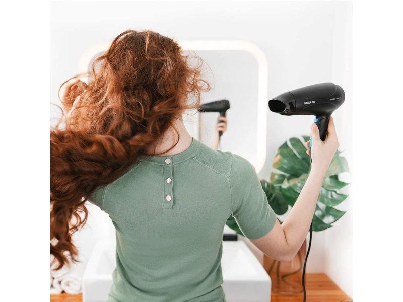 Sèche cheveux ionique avec diffuseur ion et grand débit d'air 2400w bleu noir