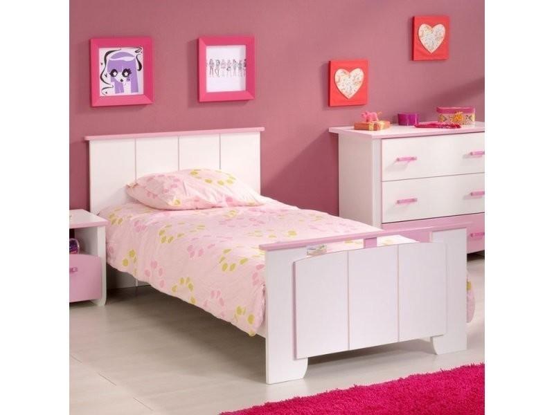 lit enfant en m tal 90x190 blanc rose nenna conforama. Black Bedroom Furniture Sets. Home Design Ideas